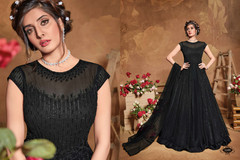 Black color Full Sleeves Floor Length Heavily Embroidered Net Fabric Anarkali style Suit