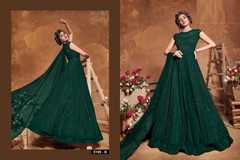 Bottle Green shade Full Sleeves Floor Length Heavily Embroidered Net Fabric Anarkali style Suit