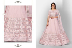 Pink color Organza Fabric Lehenga Choli