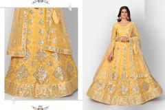 Yellow color Organza Fabric Lehenga Choli