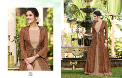 Brown color Full Sleeves Floor Length Linen Satin Fabric Gown