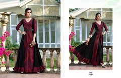 Black and Maroon color Full Sleeves Floor Length Centre Cut Tussar Silk Fabric Gown