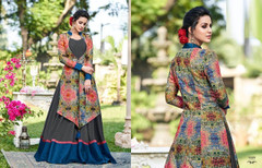 Slate Grey and Multicolor Full Sleeves Floor Length Ban Neck Design Tussar Silk Fabric Gown
