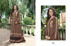 Chocolate color Full Sleeves Floor Length Opera Fabric Gown