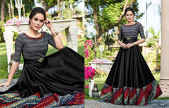 Black color Full Sleeves Floor Length Cotton Satin Fabric Gown