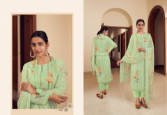 Olive Green color Cambric Cotton Fabric Suit