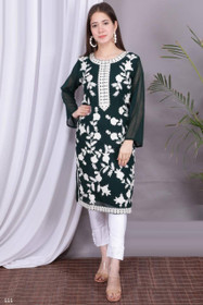 Bottle Green and White color Georgette and Silk Satin Fabric Top and Bottom