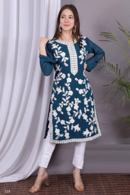 Blue and White color Georgette and Silk Satin Fabric Top and Bottom