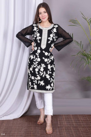 Black and White color Georgette and Silk Satin Fabric Top and Bottom