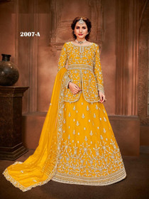 Yellow color Net Fabric Full Sleeves Indowestern style Suit