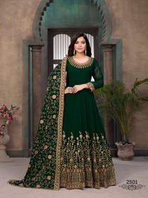 Dark Green color Georgette Fabric Full Sleeves Floor Length Anarkali style Suit