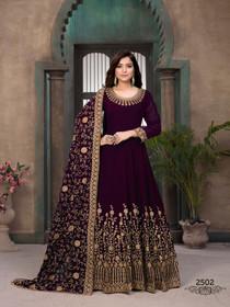Purple color Georgette Fabric Full Sleeves Floor Length Anarkali style Suit