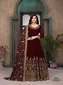 Maroon color Georgette Fabric Full Sleeves Floor Length Anarkali style Suit