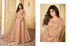 Powder Peach color Full Sleeves Floor Length Net Fabric Anarkali style Party Wear Suit