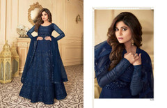 Royal Blue color Full Sleeves Floor Length Net Fabric Anarkali style Party Wear Suit