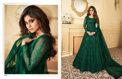 Green color Full Sleeves Floor Length Net Fabric Anarkali style Party Wear Suit