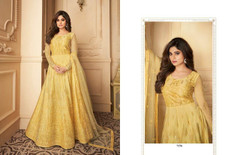 Yellow color Full Sleeves Floor Length Net Fabric Anarkali style Party Wear Suit