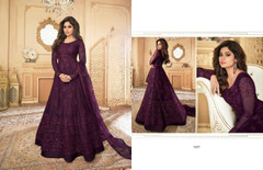 Wine color Full Sleeves Floor Length Net Fabric Anarkali style Party Wear Suit