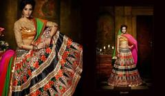 Black and Orange color Soft Silk Fabric Lehenga Choli
