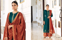 Turquoise Blue and Rust color Silk Fabric Full Sleeves Suit