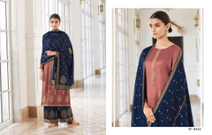 Onion shade and Royal Blue color Silk Fabric Full Sleeves Suit