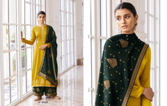 Yellow and Bottle Green color Silk Fabric Full Sleeves Suit