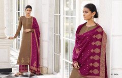 Coffee shade and Magenta color Silk Fabric Full Sleeves Suit