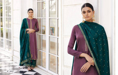 Light Purple and Turquoise Blue color Silk Fabric Full Sleeves Suit