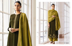 Double shade Green color Silk Fabric Full Sleeves Suit