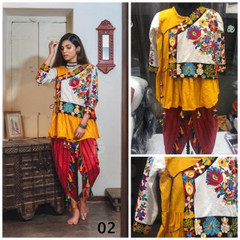 Yellow, White and Red color Pure Khadi Cotton Fabric Bottom and Top