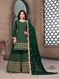 Green color Full Sleeves Georgette Fabric Heavily Embroidered Sharara style Suit