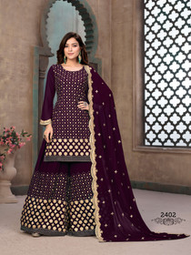 Purple color Full Sleeves Georgette Fabric Heavily Embroidered Sharara style Suit