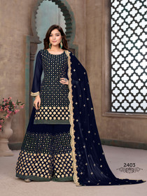 Royal Blue color Full Sleeves Georgette Fabric Heavily Embroidered Sharara style Suit