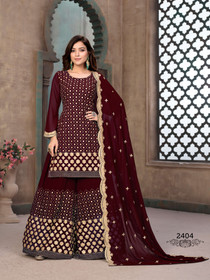 Maroon color Full Sleeves Georgette Fabric Heavily Embroidered Sharara style Suit