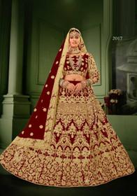 Maroon color Net Fabric Heavily Embroidered Lehenga Choli