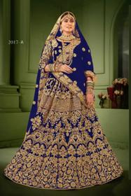 Royal Blue color Net Fabric Heavily Embroidered Lehenga Choli