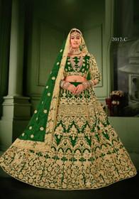 Green color Net Fabric Heavily Embroidered Lehenga Choli