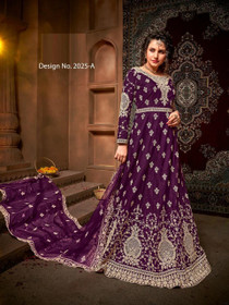 Purple color Net Fabric Full Sleeves Floor Length Embroidered Party Wear Anarkali style Suit