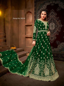 Green color Net Fabric Full Sleeves Floor Length Embroidered Party Wear Anarkali style Suit