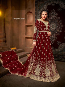 Maroon color Net Fabric Full Sleeves Floor Length Embroidered Party Wear Anarkali style Suit