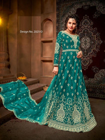 Blue color Net Fabric Full Sleeves Floor Length Embroidered Party Wear Anarkali style Suit