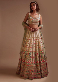 Cream color Raw Silk Fabric Lehenga Choli