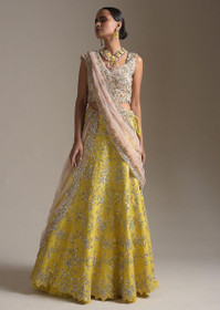Yellow color Raw Silk Fabric Lehenga Choli