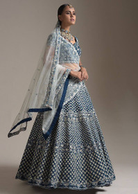 Royal Blue color Raw Silk Fabric Lehenga Choli
