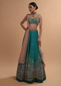 Peacock Blue color Raw Silk Fabric Lehenga Choli