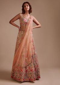 Peach color Raw Silk Fabric Lehenga Choli