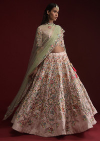 Powder Pink color Raw Silk Fabric Lehenga Choli
