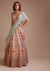 Powder Peach color Raw Silk Fabric Lehenga Choli
