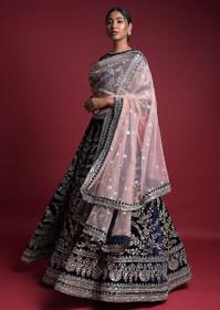 Navy Blue color Velvet Fabric Lehenga Choli