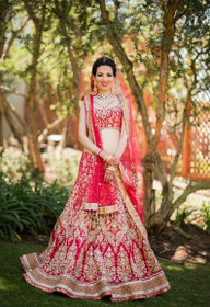 Red color Raw Silk Fabric Lehenga Choli